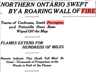 Northern Ontario Swept by a Roaring Wall of Fire The Globe 12 July 1911 p1.png